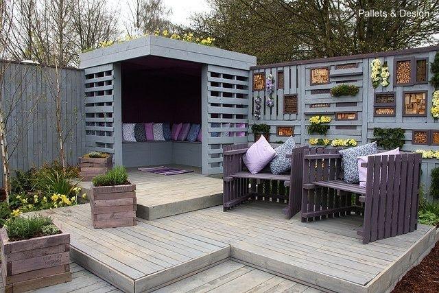 mobiliario de terraza y exterior realizados con palets tratados sillas y sillones de exterior casetas de madera para jardn tumbonas - Muebles De Jardin Con Palets